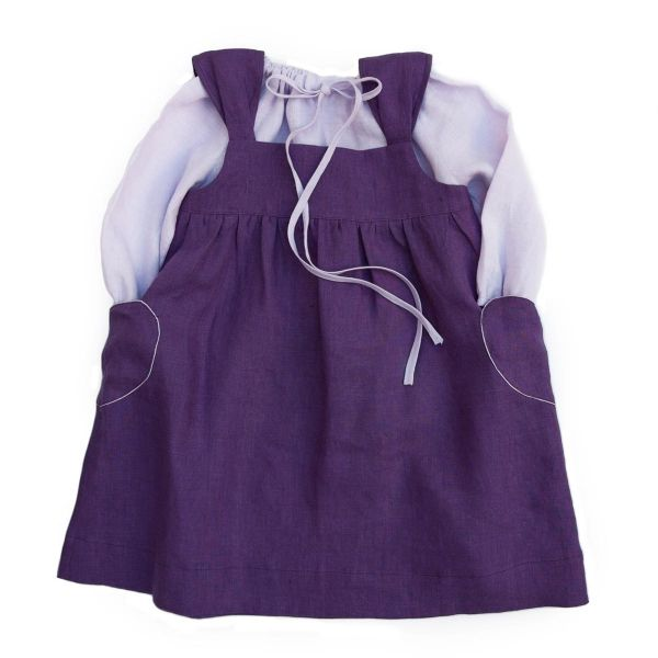 Mákvirág — Heart pocket pinafore dress purple