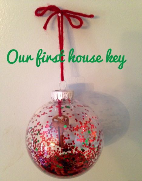 Christmas ornament made with our first house key...use the single clear stripe ornament on the tree