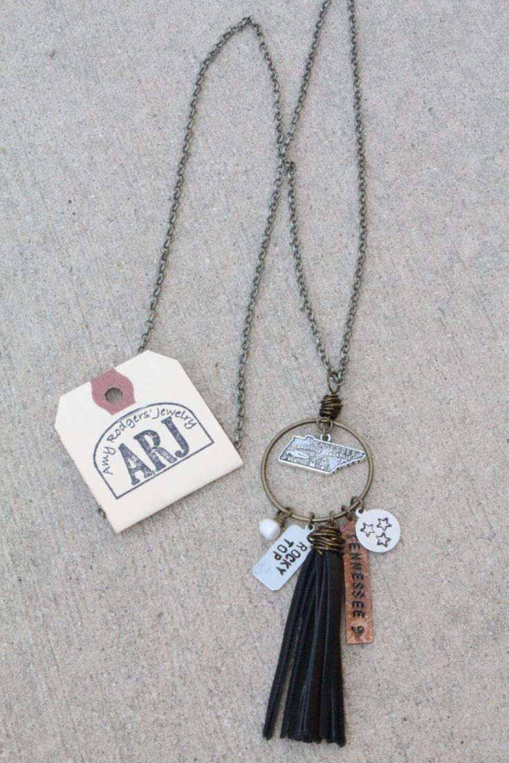Tennessee Jewelry - Tennessee Necklace - Tennessee Girl - Tassel Necklace - Leather Tassel - Tennessee Necklace - Boho Necklace - TN Jewelry by AmyRodgersJewelry on Etsy https://www.etsy.com/listing/464817448/tennessee-jewelry-tennessee-necklace