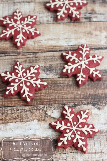 Red Velvet Snowflake Cookies @createdbydiane