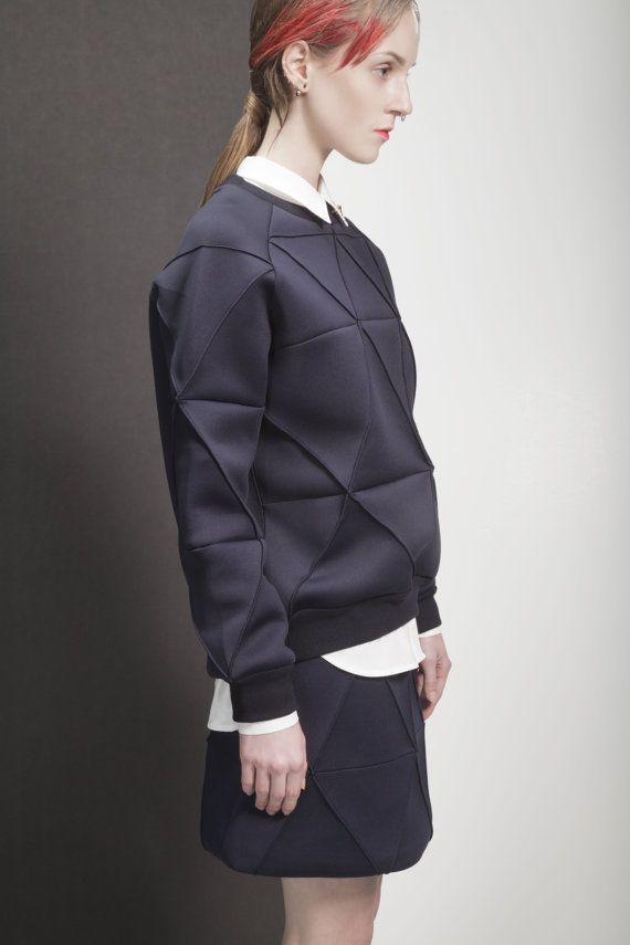Minimalist / neoprene / Miura Geometry Skirt / Origami Skirt /  Mute by Joanne Lu 2015 Fall / Saturday Project