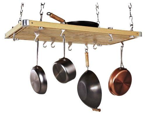 Wood Rectangular Ceiling Kitchen Pot Rack - Pot Racks at Hayneedle