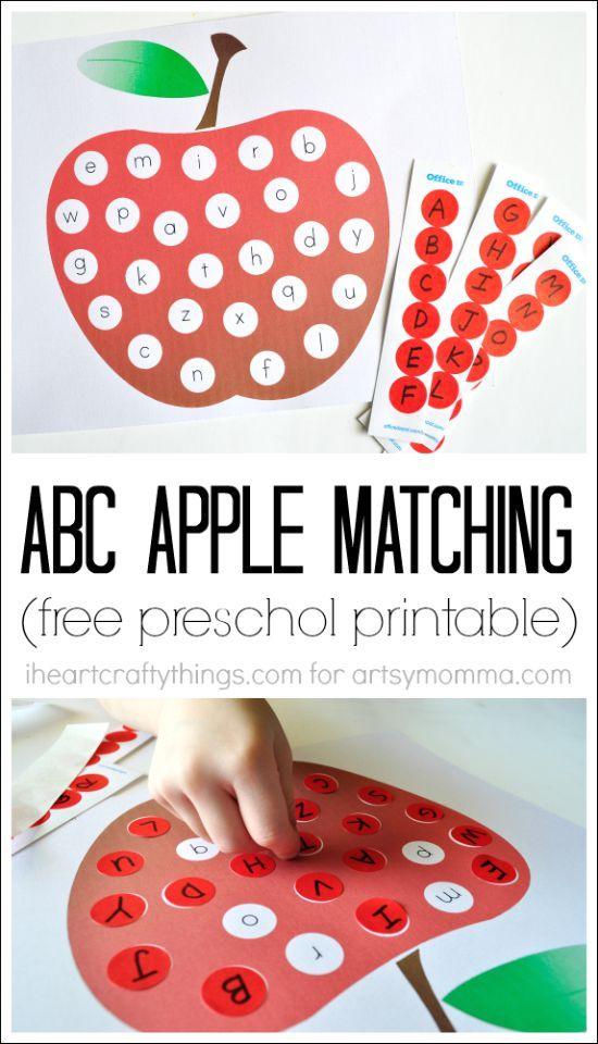 Fun ABC Apple Matching Printable for Preschoolers and Kindergartners variante plastifié avec velcros