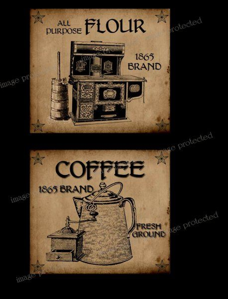Printable Primitive Pictures | Primitive Labels Flour and Coffee FH227