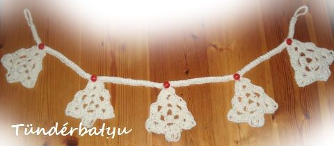 Crocheted pine Christmas tree garland