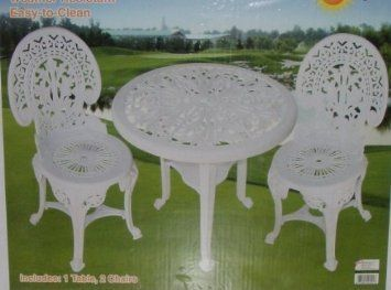 3 Piece Victorian Bistro Set . $99.00. Easy To Clean. Includes   1 Table