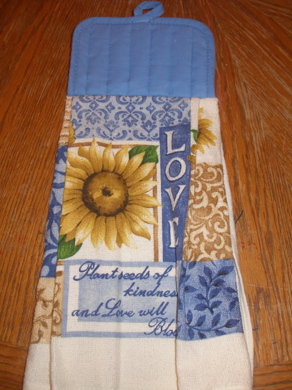 Sunflower Love Themed Pot Holder Topped Kitchen Towel. $5.00, Via Etsy.