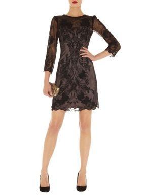 Karen Millen 3d Lace Floral Dress Black - House of Fraser