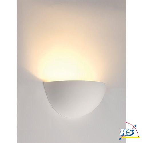 Væglampe GL 101 E14, halv rund, hvid Gips, max. 40W