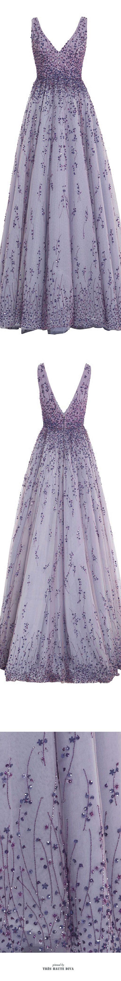 Monique Lhuillier Violet Embroidered Tulle V-Neck Ball Gown ♔ SS 2015 ♔ Très Haute Diva ♔