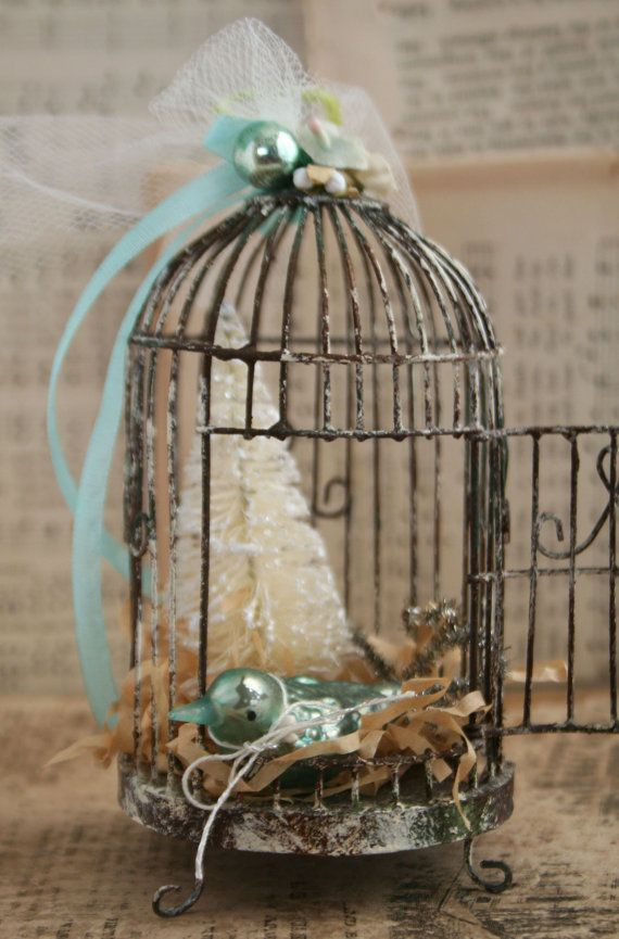 Aqua Blue and Cream Weathered Wire Bird Cage - Holiday Ornament Bird Cage Decoration - Mercury Glass Bird Ornament - Christmas Tree Ornament...