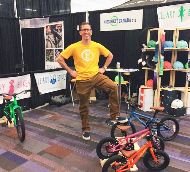 Jeff Cleary at the @vanbikeshow with @kidsbikescanada! Live in Canada and want a Cleary bike? Kids Bikes Canada will hook you up with one! Mike and Lina are awesome people and they are our Cleary Bikes distributer in Canada. Give them a follow! . . . #clearybikes #kidsbikescanada #vanbikeshow #kidsbikes #childrensbikes