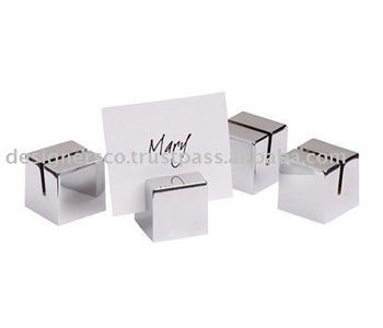 Silver Cube Wedding Favor Place Card Holder