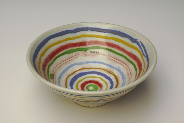 "Bowl - 7"" d. Banded decoration. Fired to Orton cone 9 with reduction."