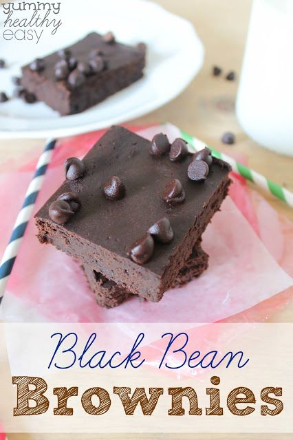 FLOURLESS BLACK BEAN BOWNIES -------- 1 (15-oz) can black beans, rinsed and drained 1/4 cup chocolate chips + some for the top 3 Tbsp. canola oil 3 eggs 2/3 cup packed brown sugar 1/2 cup unsweetened cocoa 1 tsp. vanilla extract 1/2 tsp. baking powder 1/8 tsp. salt