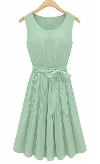 Mint Green Sleeveless Pleated Belt Chiffon Dress