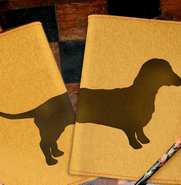 Dachshund Felt Journal with Sketchbook by animalsandbirds on Etsy