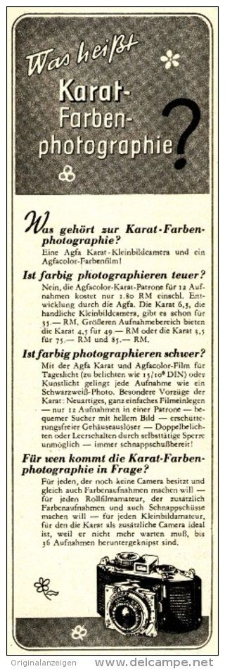 Original-Werbung/Anzeige 1937 - AGFA KARAT FARBEN - PHOTOGRAPHIE - ca. 60 x 180 mm