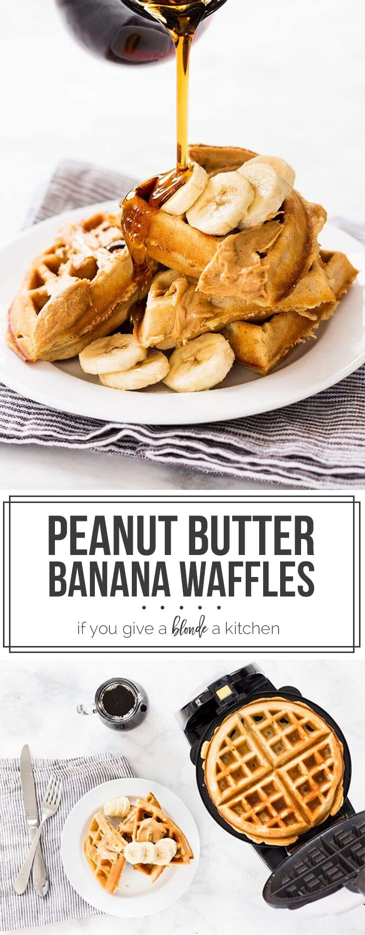 Banana peanut butter waffles are an insanely good breakfast choice. The recipe makes crisp and fluffy waffles in a Belgian waffles maker!   www.ifyougiveablondeakitchen.com