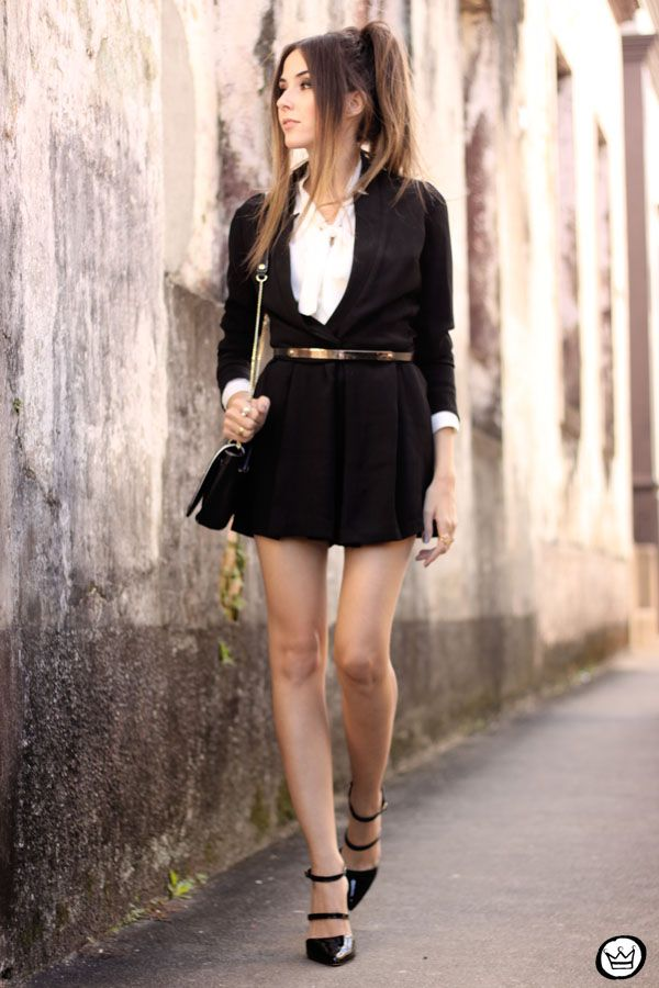 classic black & white. preppy outfit.
