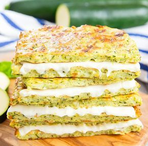 """These grilled cheese sandwiches have less carbs and are healthier than traditional grilled cheese sandwiches, by using a zucchini """"bread"""" similar to zucchini pizza crust."""