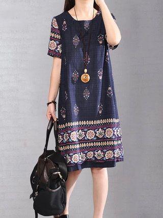 Dark Blue Loose Printed Casual Dress