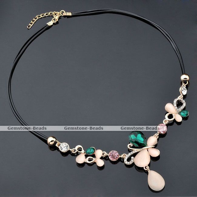 Sweet Butterfly Cat's Eye Gem Crystal Bib Choker Black Cord Rope Choker Necklace #Choker  http://www.ebay.com/itm/Sweet-Butterfly-Cats-Eye-Gem-Crystal-Bib-Choker-Black-Cord-Rope-Choker-Necklace-/231359786682?pt=LH_DefaultDomain_0&hash=item35de1e2eba