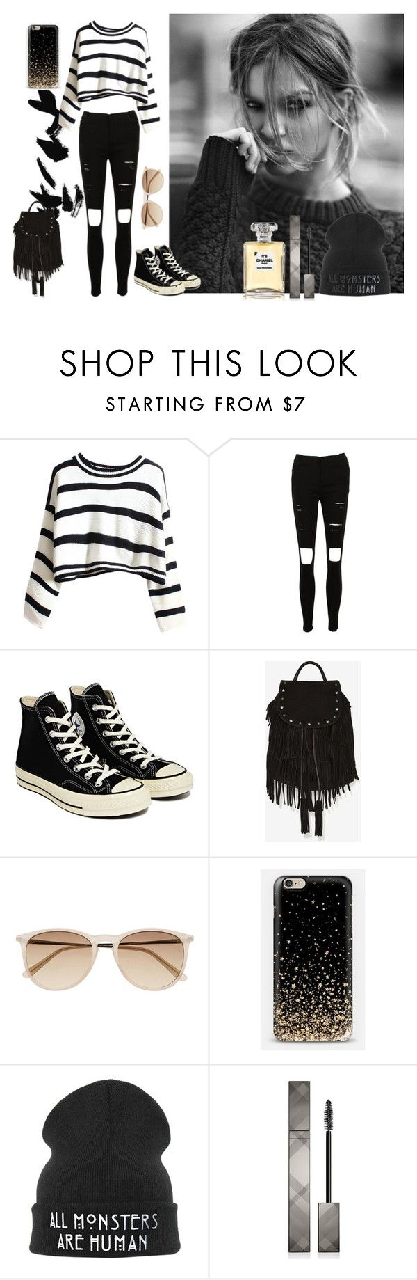 """""""Tattooed Heart by Ariana Grande"""" by helenagonmir ❤ liked on Polyvore featuring Converse, Maison Scotch, Witchery, Burberry and Chanel"""