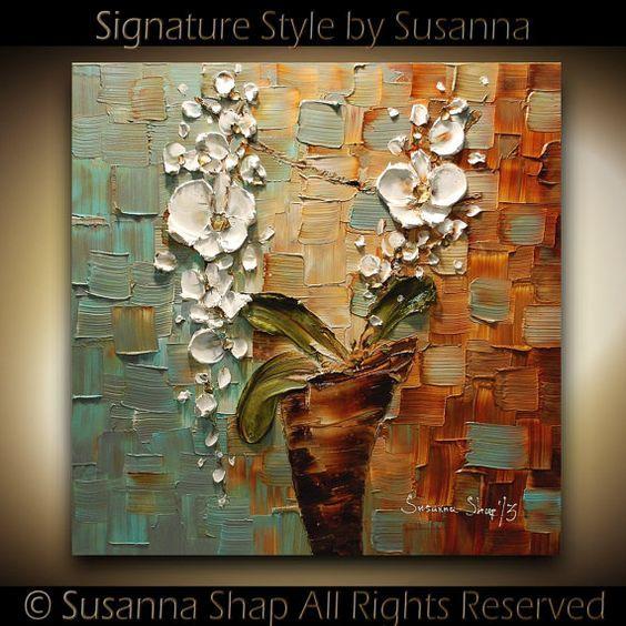 Eredeti absztrakt White Orchid impasto Olajfestmény Modern Palette Knife Flowers Contemporary Fine Art Susanna 24x24: