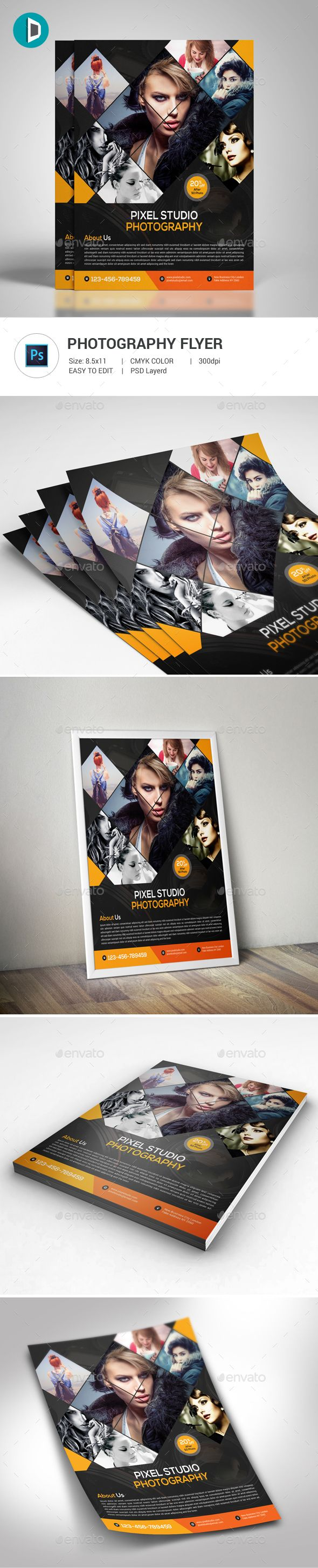 Photography Flyer — Photoshop PSD #corporate #flyer • Available here → https://graphicriver.net/item/photography-flyer/17813768?ref=pxcr