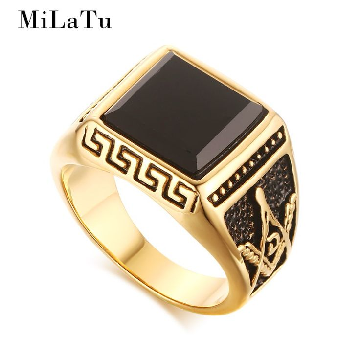 MiLaTu Gold Plated Men Masonic Rings With Black Stone Stainless Steel Wedding Bands For Men Freemasonry Ring Bague Homme R370G
