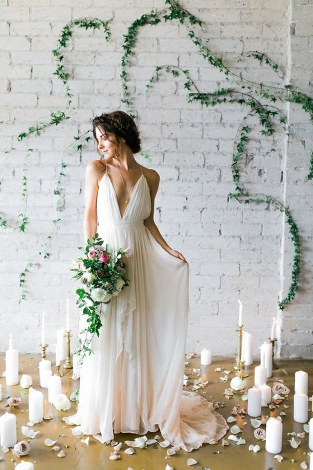 Goddess-Inspired Bridal Shoot in Cleo & Clementine  love the ivy on the wall/candles/petals/pose/hair/bouquet