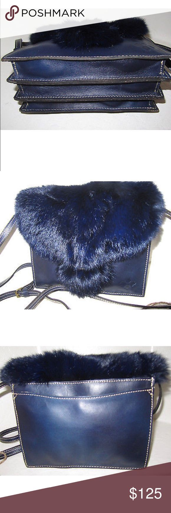 Patricia Nash Dark Navy Blue Crossbody Patrica Nash Van Sannino rabbit fur(Leather is SO soft & so is fur from regulated rabbits in Germany a Natural resource) crossbody clutch in eclipse dark navy blue.  Can be worn as large statement clutch or chic crossbody. This classic bag will make you feel like royalty! Purchased from major department store, never used. Smoke free home. Comes with dustbag. Accordion-style with 3 compartment layout Patricia Nash Bags Crossbody Bags