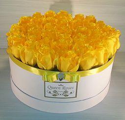 QM158/ Queen Roses sárga selyemrózsa rózsadoboz nagy
