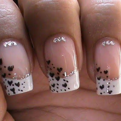 Love this design without the bling though. French Tip Hearts by Prachi A
