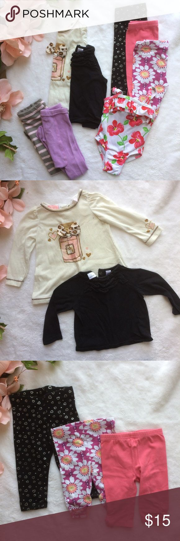 12 month girl bundle 2 long sleeve tee shirts: one white with perfume bottle and bow, and one plain black with ruffles. One pair of black leggings with silver hearts. 2 Capri leggings: one purple floral and one pink. White floral one piece swimsuit and 2 pair of tights. Pink and gray striped and purple with floral. ✖️Offers are ALWAYS welcomed, and if you see anything else you like feel free to make an offer on a bundle! ✖️ Jumping Bean Matching Sets