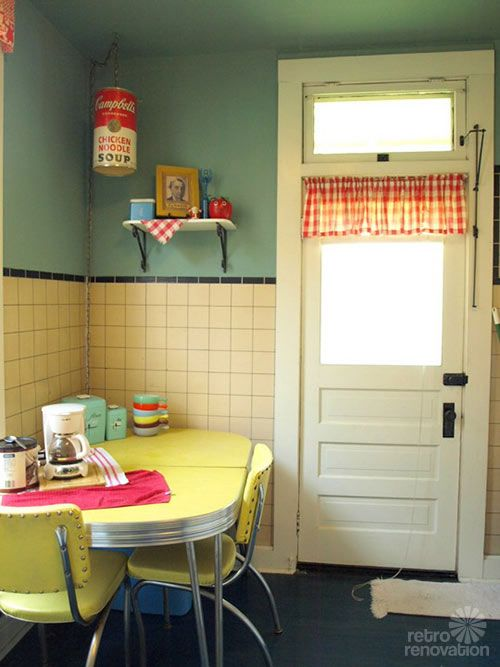 yellow and blue/green vintage kitchen. I love that hanging campbells soup.