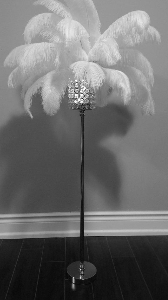 32 Silver Crystal Globe Stand Ostrich Feather by Featherology2