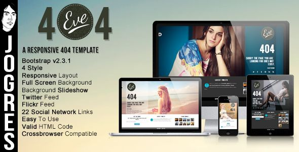 Eve404 - Responsive 404 Theme - 404 Pages Specialty Pages