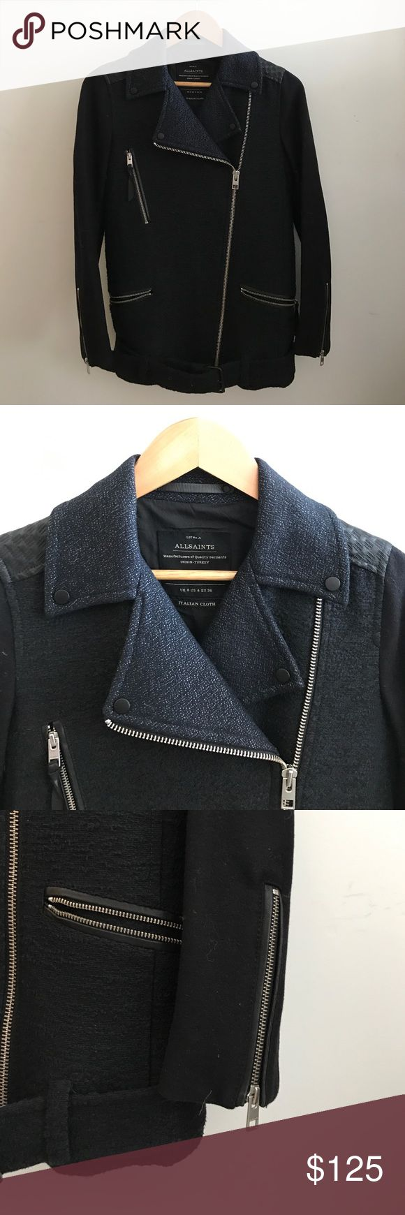 All Saints Wool/Cotton Moto Biker Jacket - 4 / S Navy blue allsaints moto jacket with zip closure and zips on sleeves / UK8 US4 EU36 / very very lightly worn All Saints Jackets & Coats