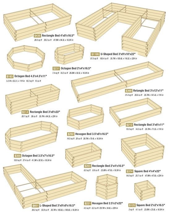 great variety of raised bed designs, with dimensions (for purchase, apparently -- but why not diy?)