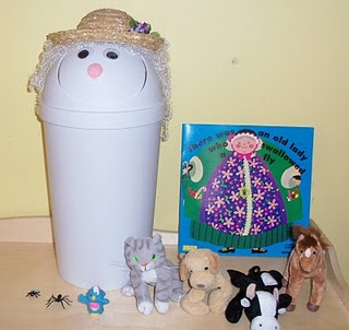 """There Was An Old Lady Who Swallowed A Fly! --- This is our old lady! I made her with a flip lid trash can. Then I found an object that goes with everything that she swallowed. I hand them out to the kids. When it comes to their object in the book, then they """"feed"""" the old lady!"""