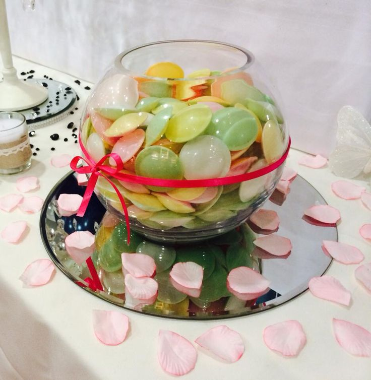 Retro Sweetie filled fishbowl as a centrepiece by Made Marvellous