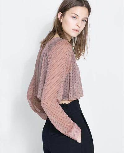 Imagen 2 de BLUSA CORTA  LUNARES de Zara