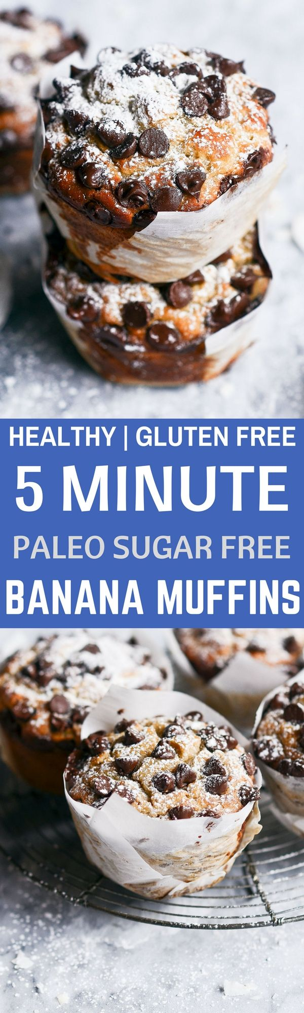 Healthy Gluten Free Banana bread breakfast muffins made in 5 minutes! Easy sugar free, paleo, and grain free breakfast recipe.