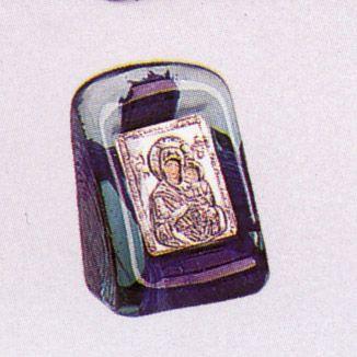 Theotokos Icon on Blown Glass Silver 925 5x6cm