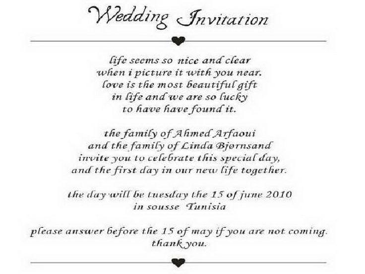 Wedding Invite Template Wording