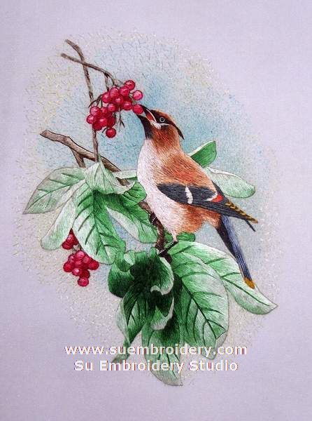 Bird, silk hand embroidered picture, Suzhou silk embroidery art China