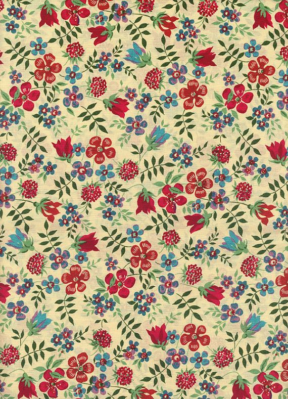 Liberty fabric Edenham Red Blue Tana Lawn Fabric by MissElany, $4.30