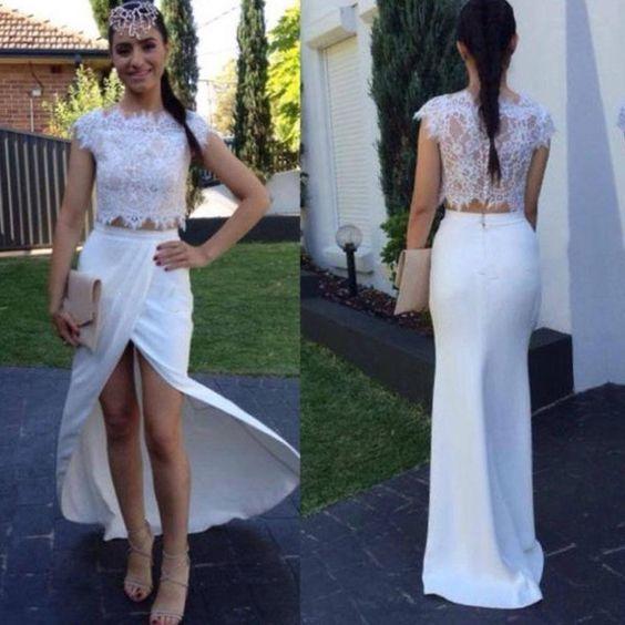 Two Pieces Prom Dress,Split Prom Dress,Bodycon Prom Dress,Fashion